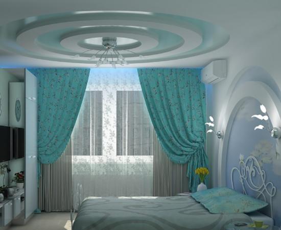Натяжна стеля в спальні, дитячій, залі